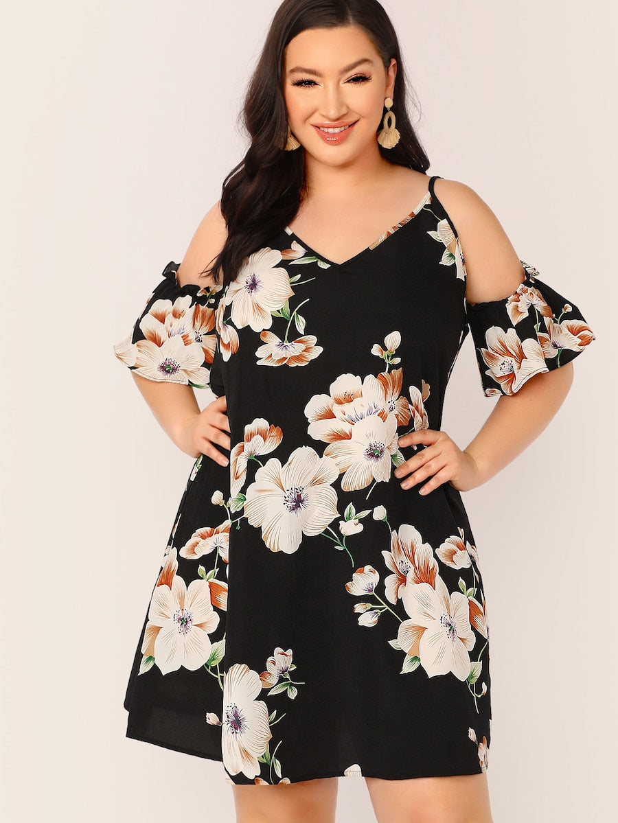 Plus Size Cold Shoulder Floral Print Dress
