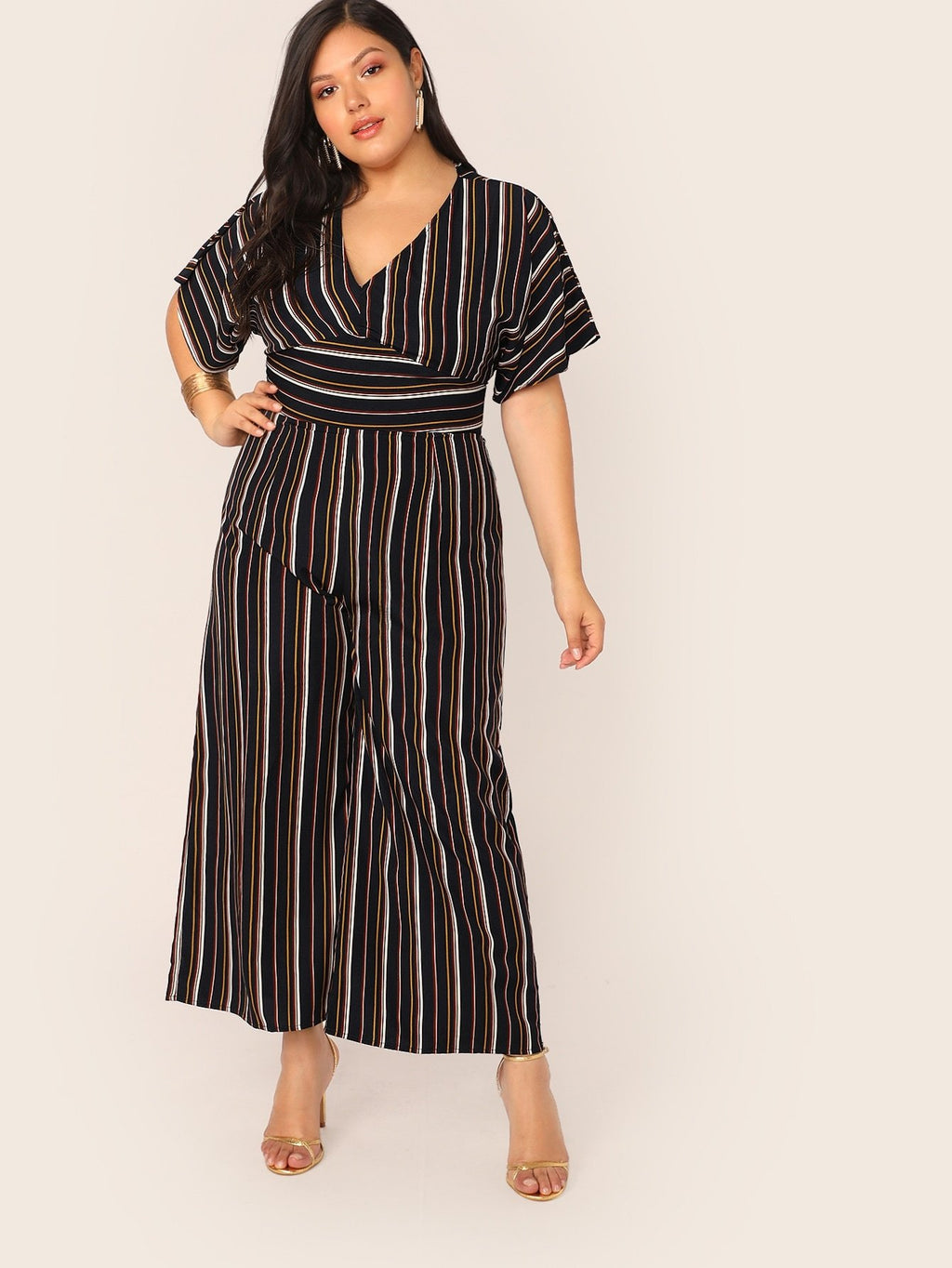 Plus Size High Waist Striped Jumpsuit