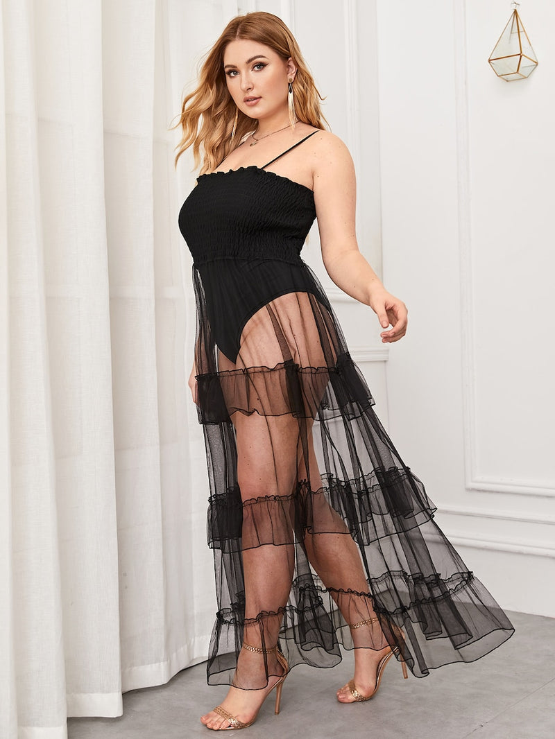 Plus Size Mesh Overlay Shirred Cami Bodysuit