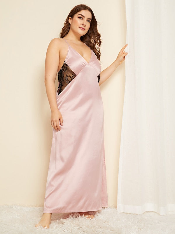 Plus Contrast Lace Satin Night Dress