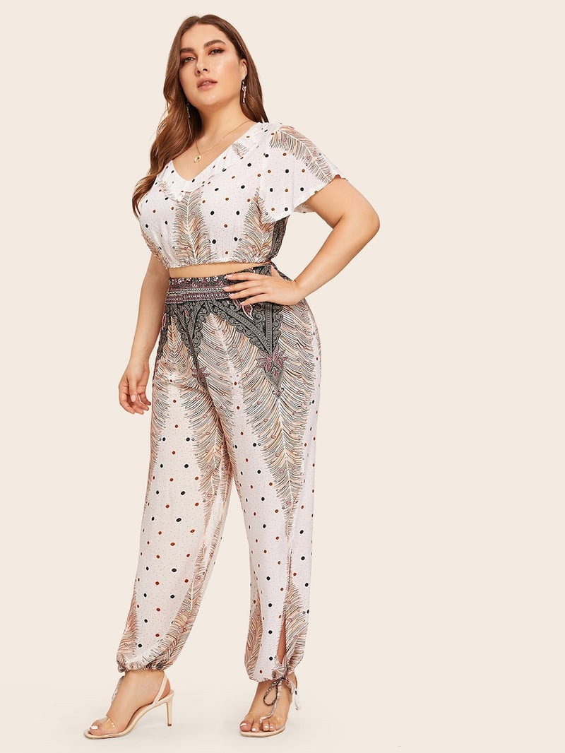 Plus Size Tribal Print Top With Knot Pants