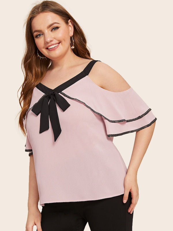 Plus Size Knot Tiered Layer Cold Shoulder Blouse