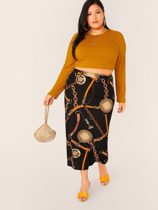 Plus Size Chain Print Pencil Skirt