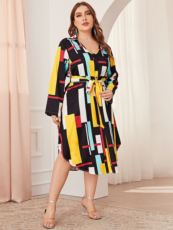 Plus Geo Print Curved Hem Belted Dress