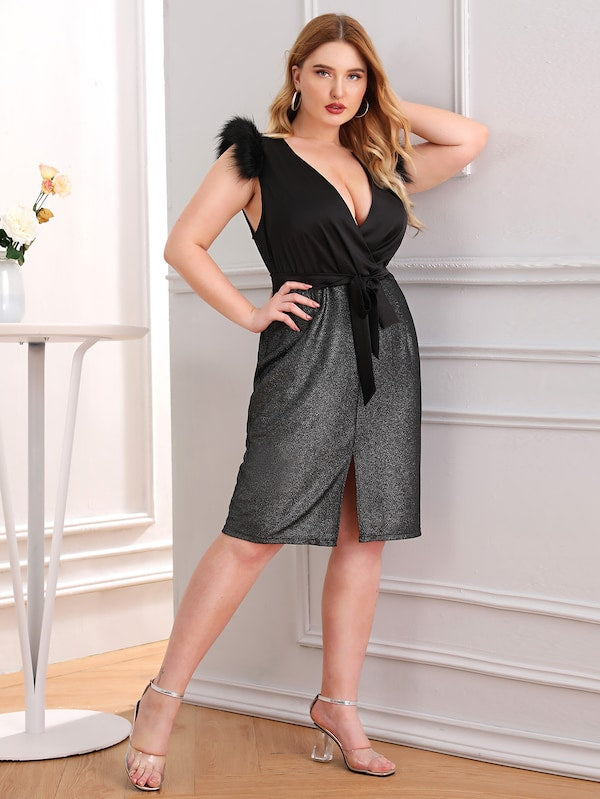 Plus Size Contrast Fur Glitter Split Front Dress