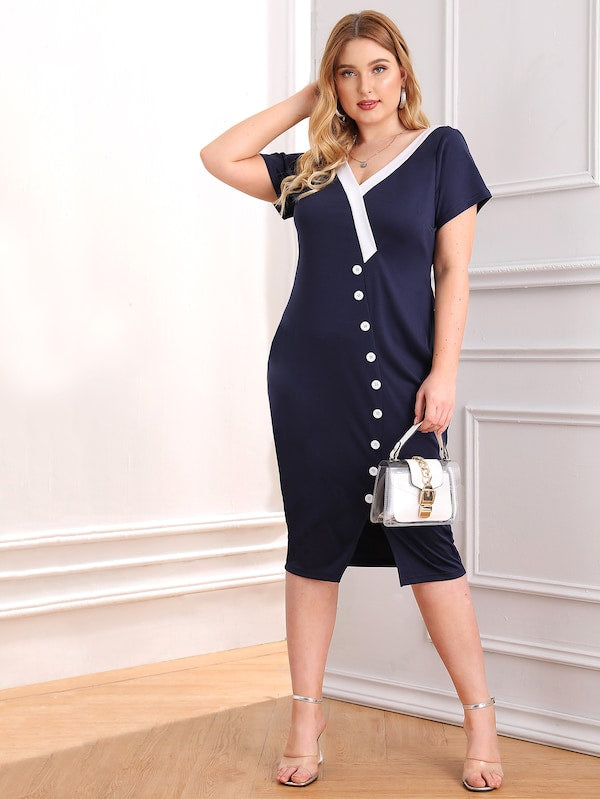 Plus Size V Neck Cut And Sew Button Front Split Dress