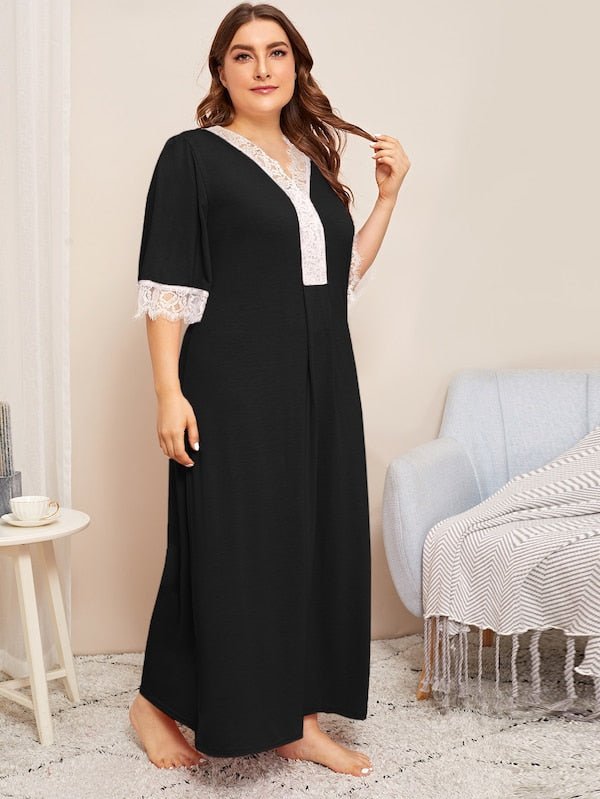 Plus Lace Trim Night Dress