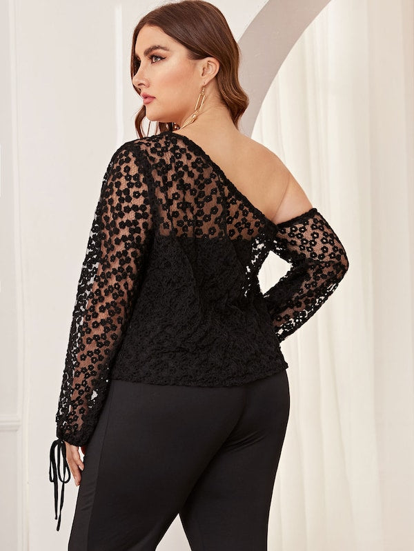 Plus Mesh Embroidery Asymmetrical Sheer Top Without Bra