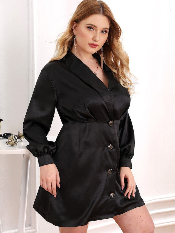 Plus Size Satin Button Front Solid Shirt Dress