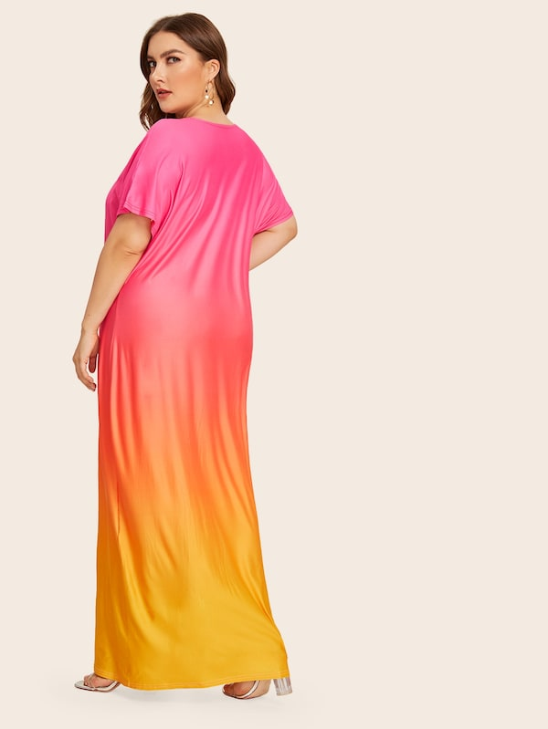 Plus Size Ombre Maxi Tee Dress