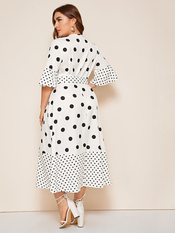 Plus Size Polka Dot Surplice Front Belted Dress
