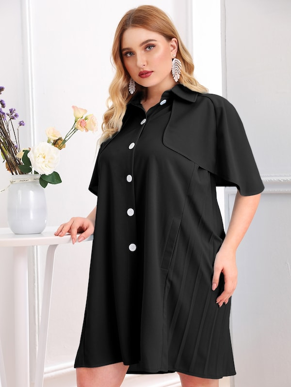 Plus Size Ruffle Trim Pleated Back Shirt Dress