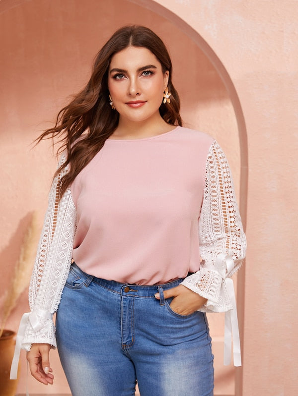 Plus Size Two Tone Lace Sleeve Top