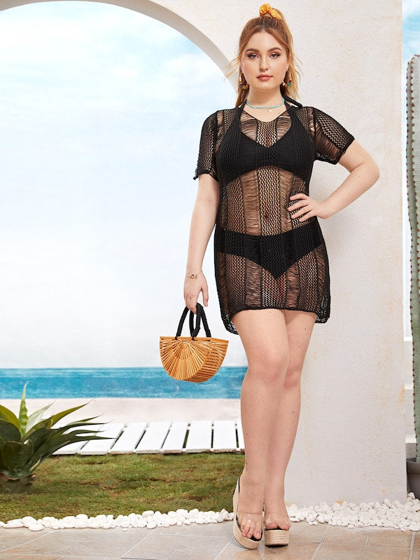 Plus Size Hollow Out Cover Up Without Bikini Set