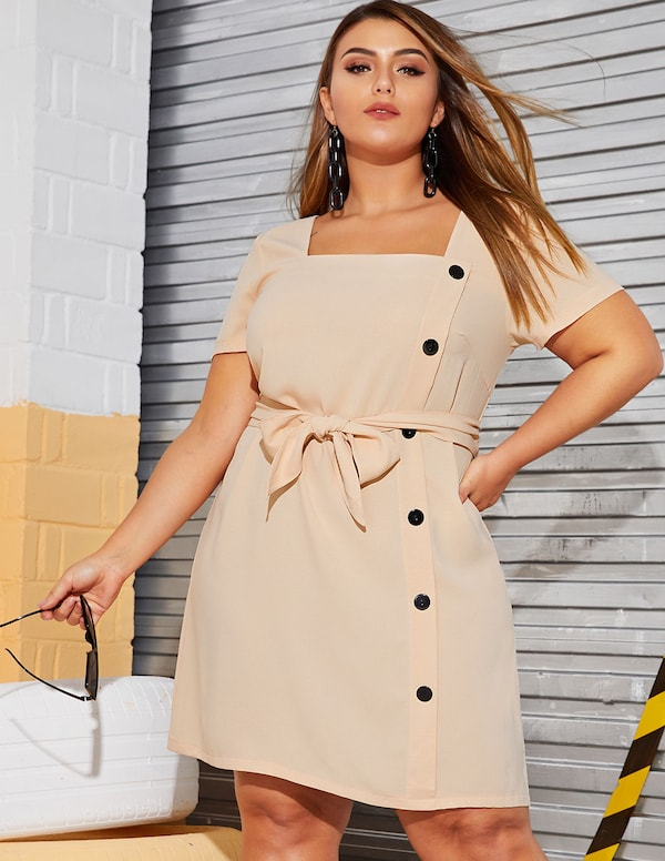 Plus Size Button Decoration Belted Dress