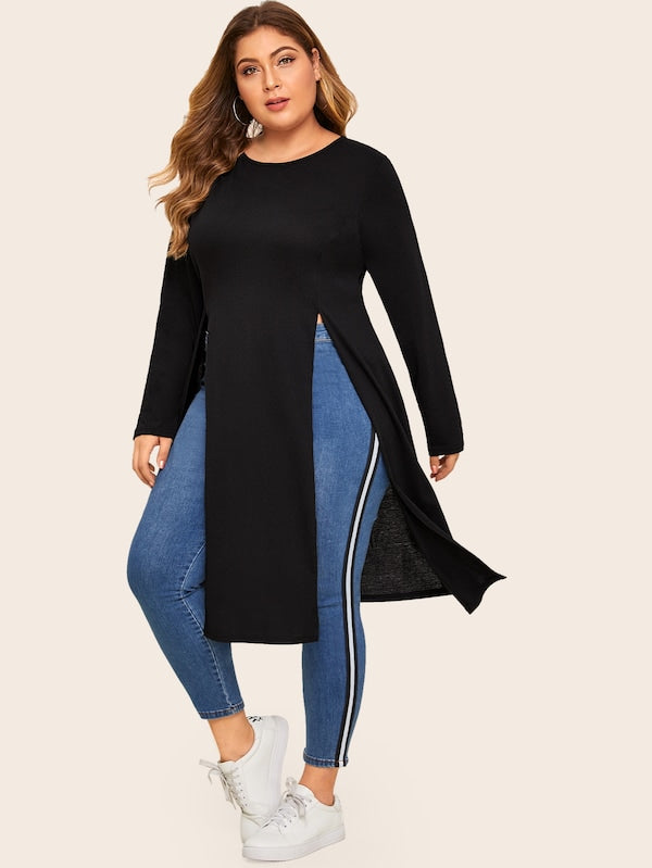Plus Size Solid Slit Side Longline Tee