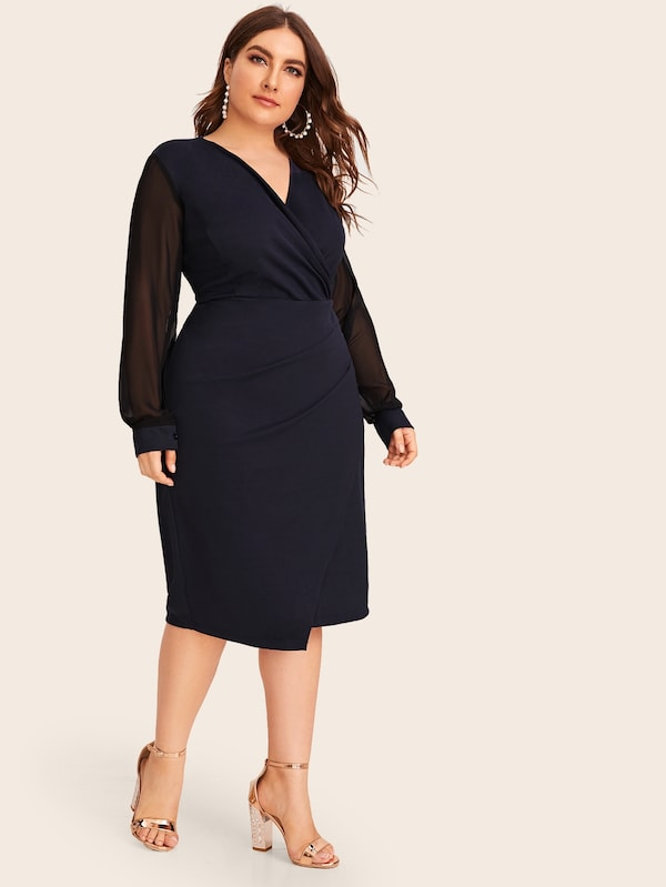 Plus Size Contrast Mesh Sleeve Surplice Sheath Dress