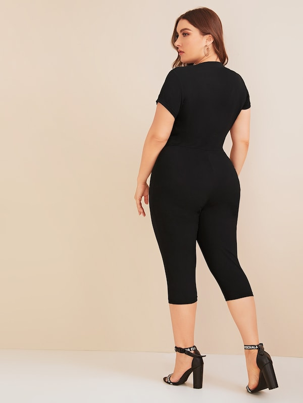 Plus Size Chevron Half Zip Skinny Jumpsuit