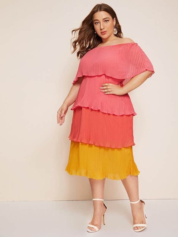 Plus Size Off The Shoulder Colorblock Tiered Layer Dress