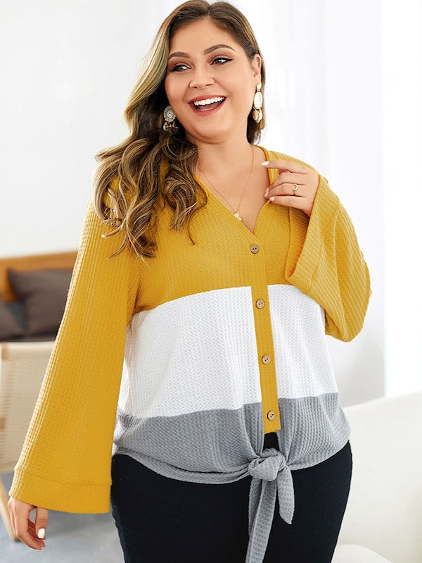 Plus Size Color Block Knot Front Knit Top
