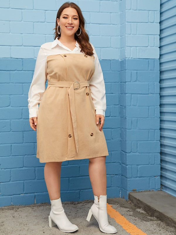 Plus Size Contrast Panel Button Front Belted Shirt Dress
