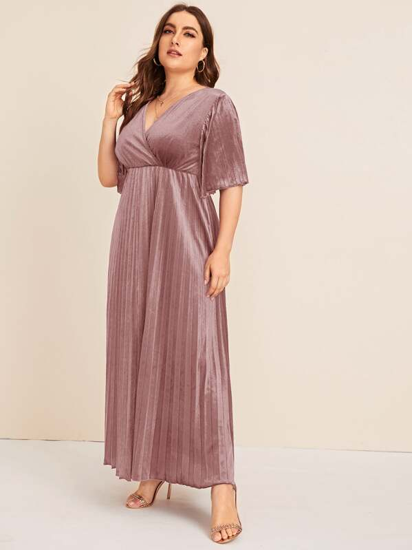 Plus Size Flutter Sleeve Pleated Velvet Dress