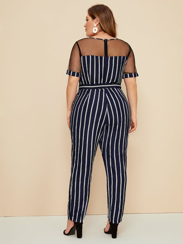 Plus Size Striped Mesh Insert Belted Jumpsuit