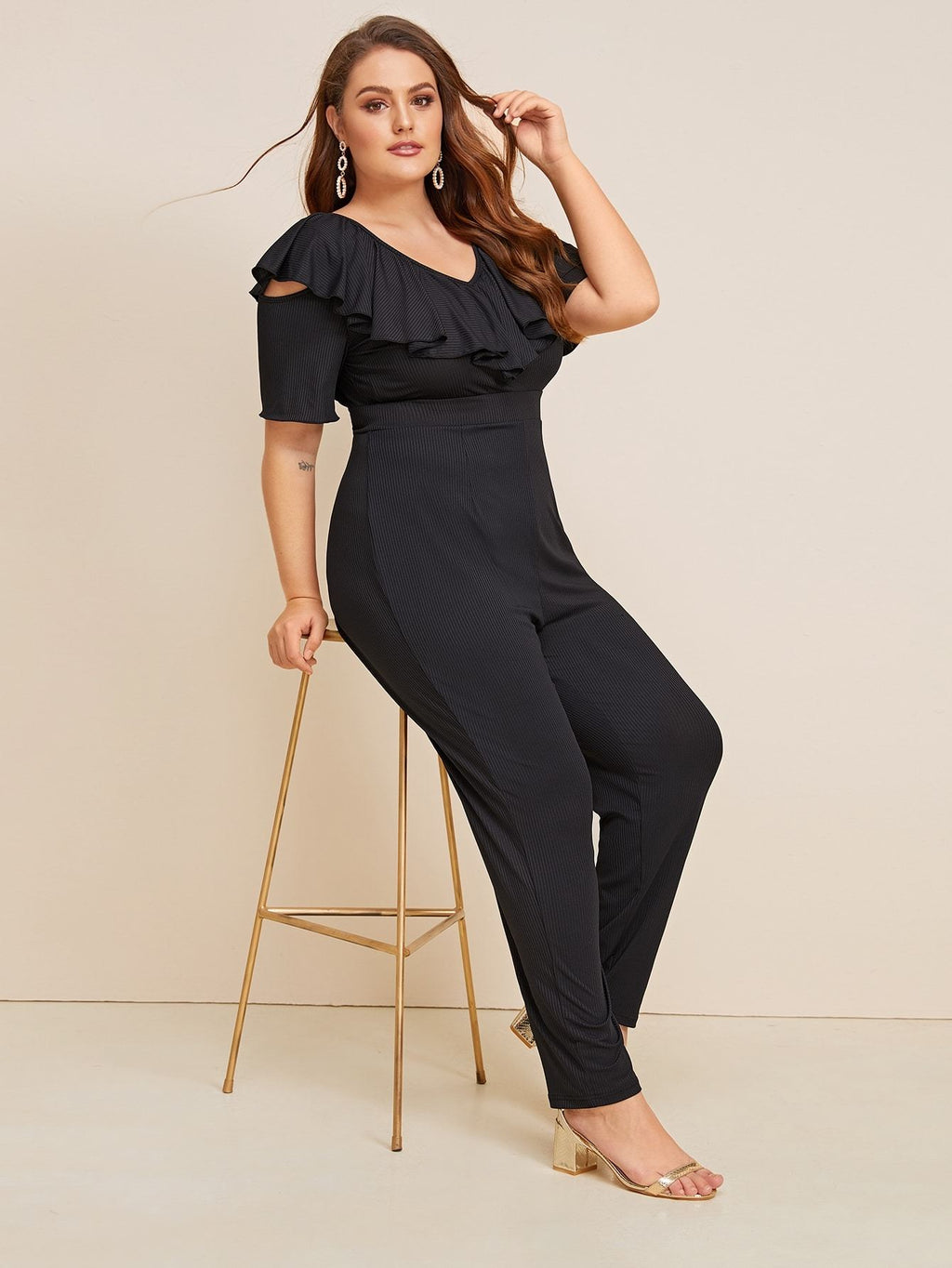 Plus Size Rib-knit Ruffle Trim High Waist Jumpsuit