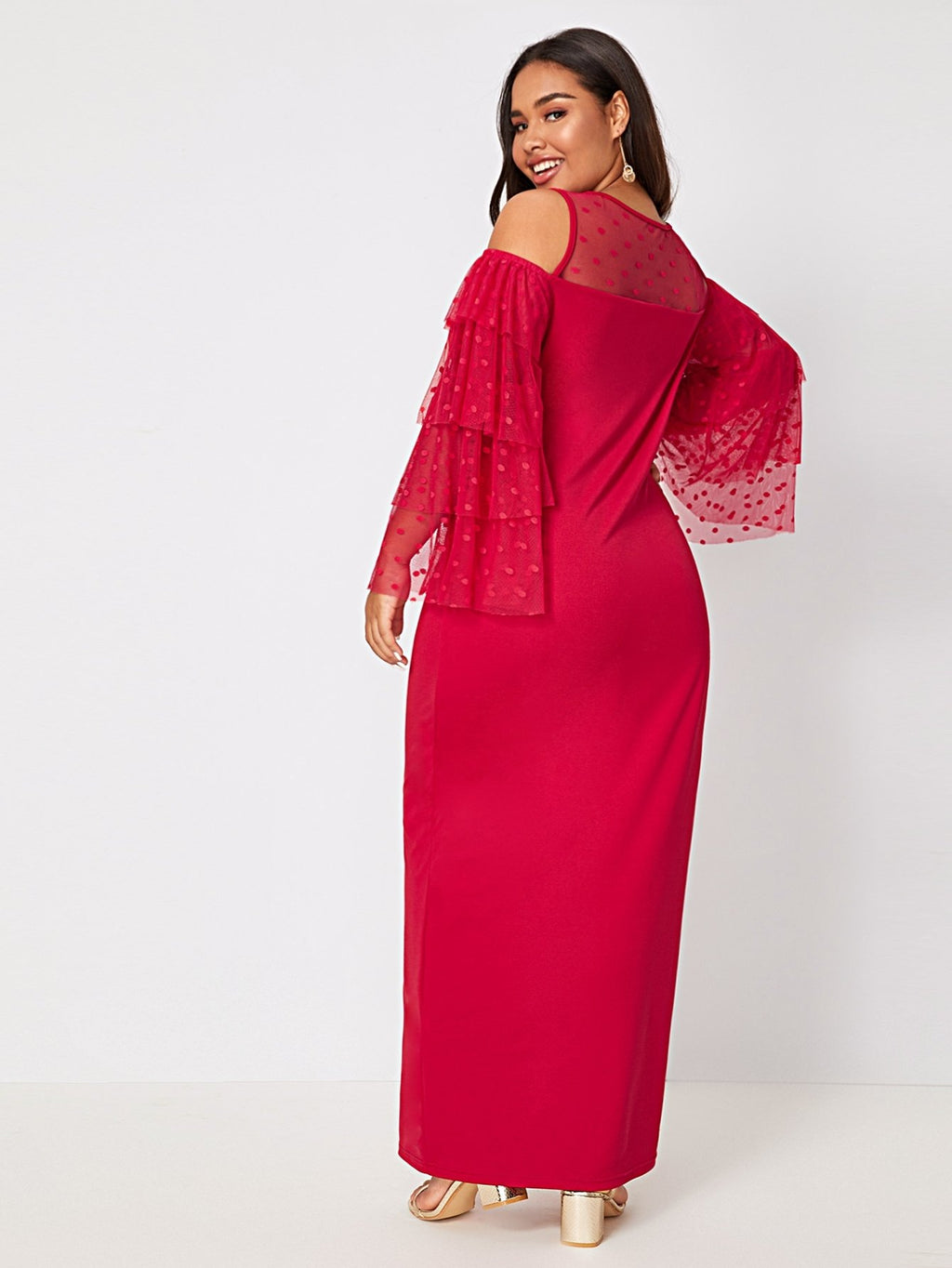 Plus Size Glam Cold Shoulder Mesh Layered Sleeve Dress