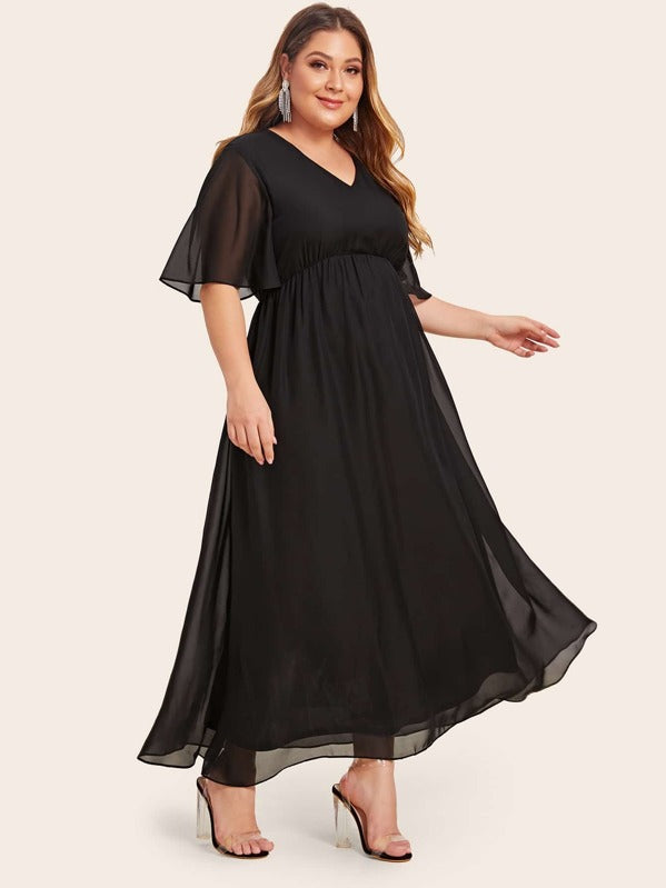 Plus Size Solid Sheer Sleeve Dress