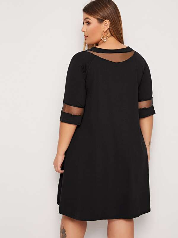 Plus Mesh Insert Solid Top Dress