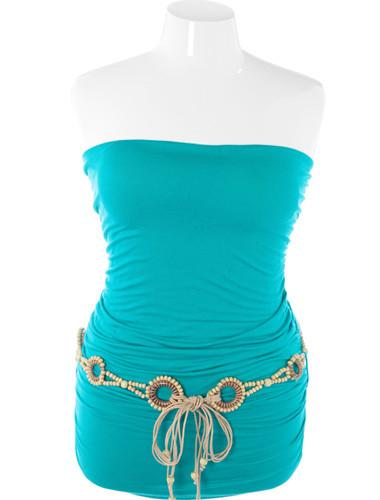 Plus Size Sexy Hip Belted Teal Tube Top