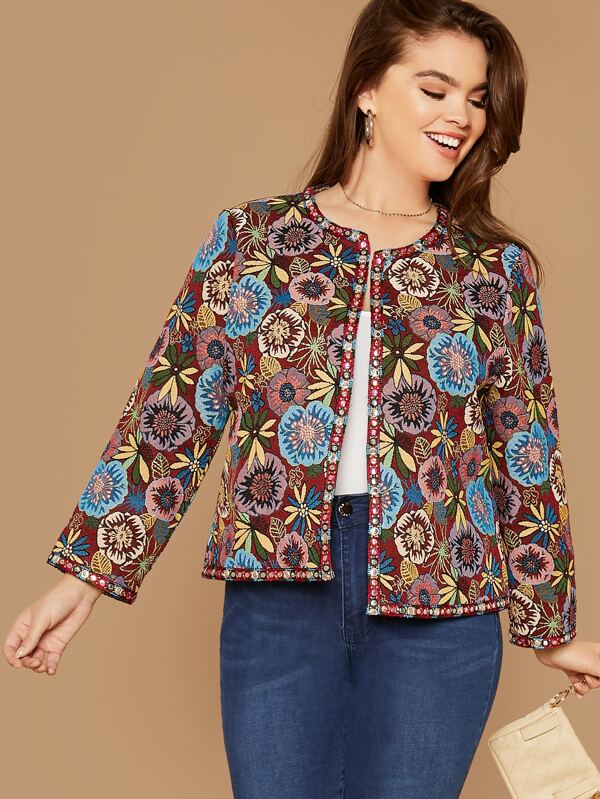 Plus Contrast Trim Jacquard Jacket Top