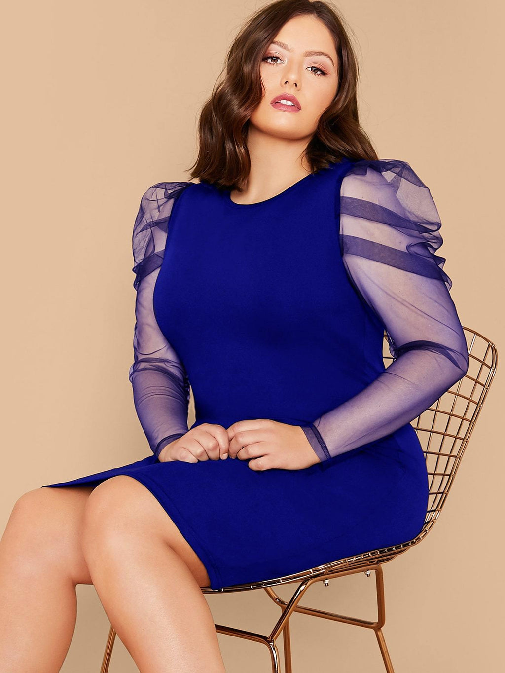 Plus Size Cocktail Sheer Gigot Sleeve Bodycon Dress