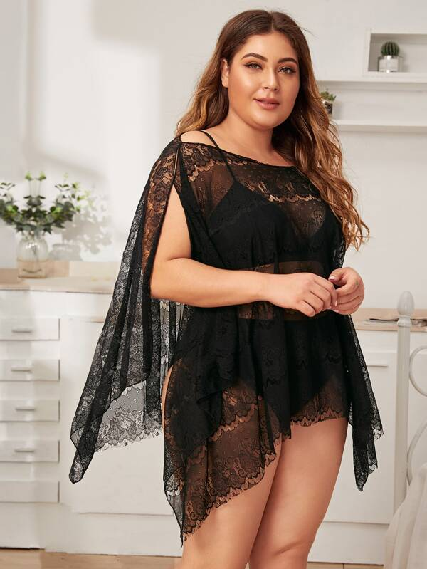 Plus Size Floral Lace Split Side Dress With Thong