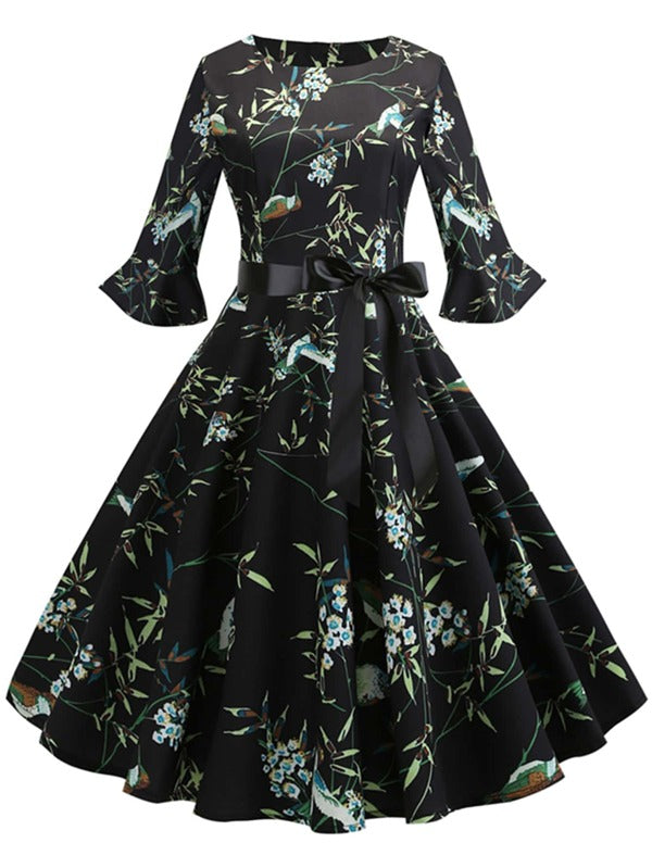 Plus Size Floral Flounce Sleeve Bow Front Fit & Flare Dress