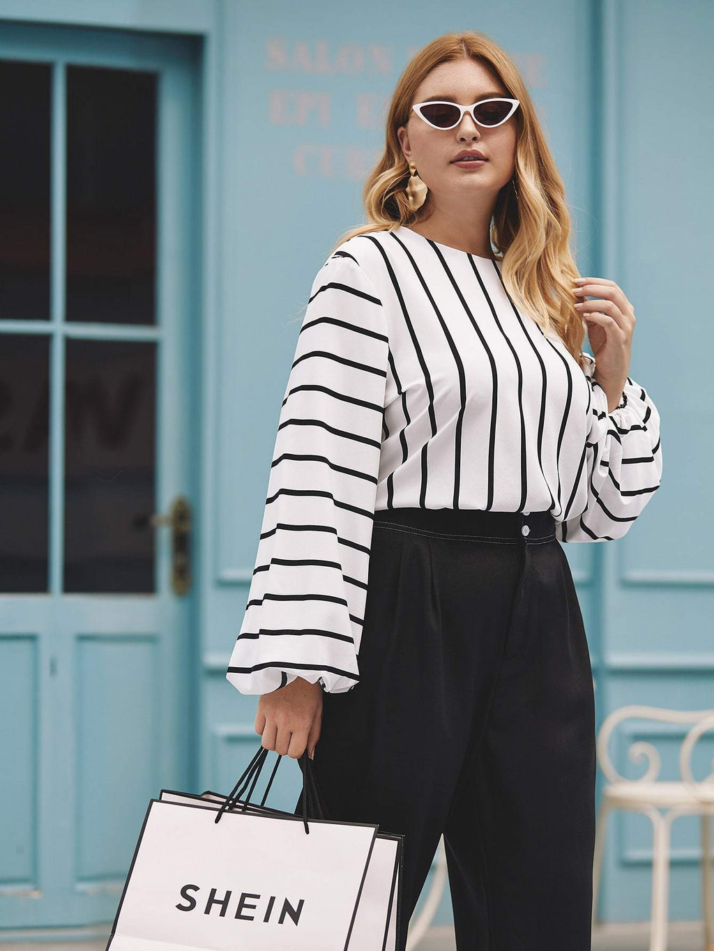 Plus Size Casual Striped Bishop Sleeve Blouse Top