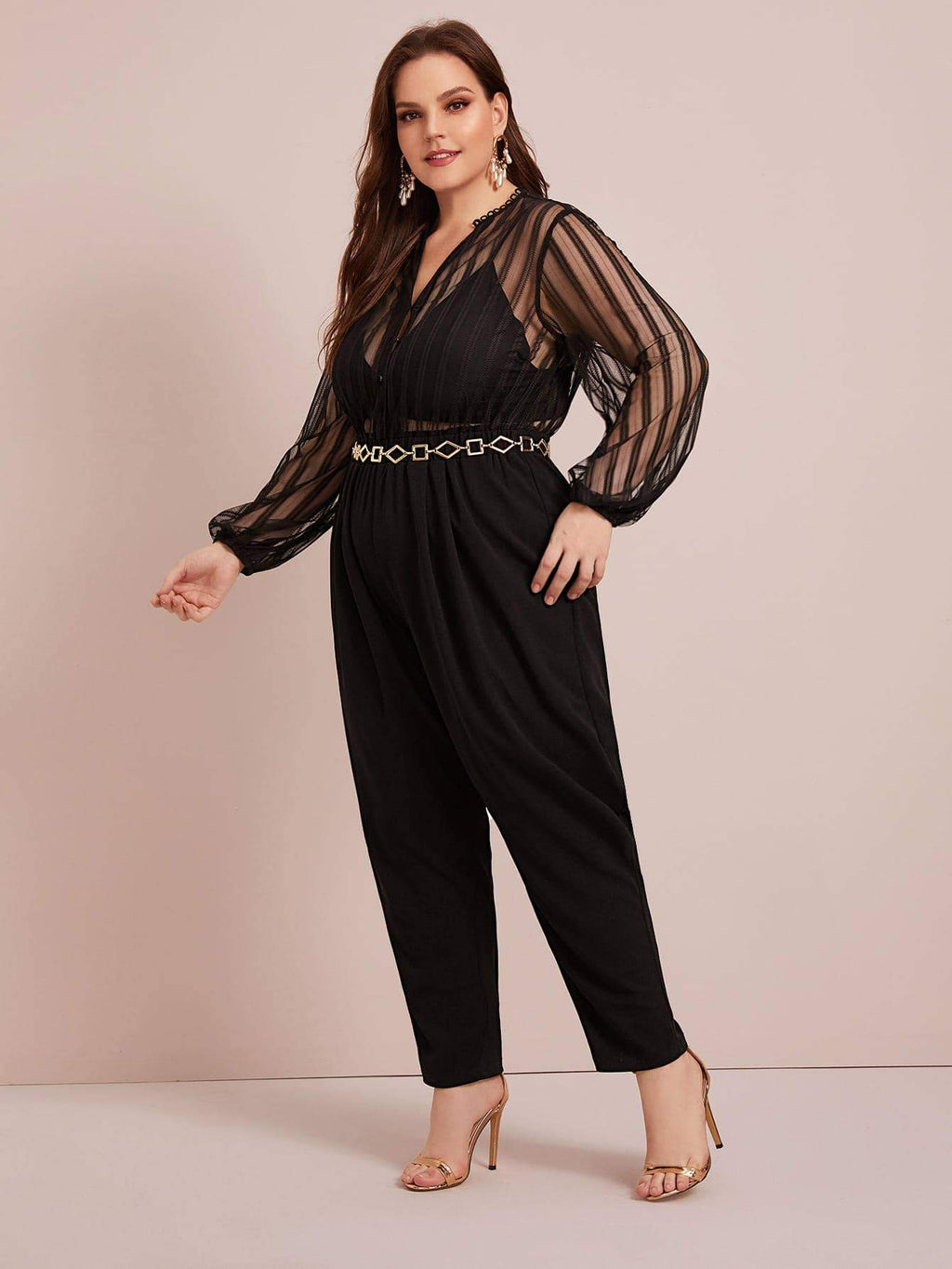 Plus Size See Through Mesh Bodice Jumpsuit Without Belt