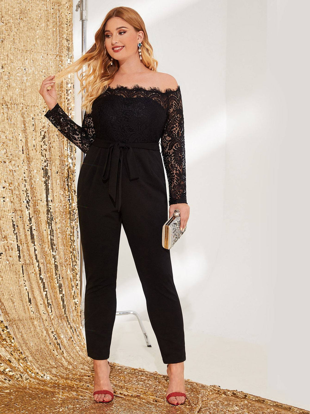 Plus Size Sexy Lace Off Shoulder Belted Jumpsuit