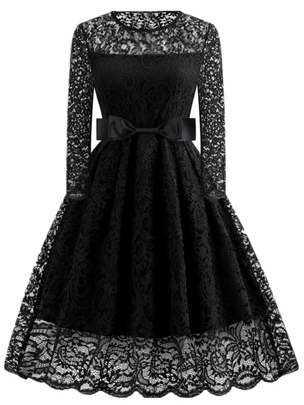 Plus Size Bow Front Sheer Lace Fit And Flare Dress