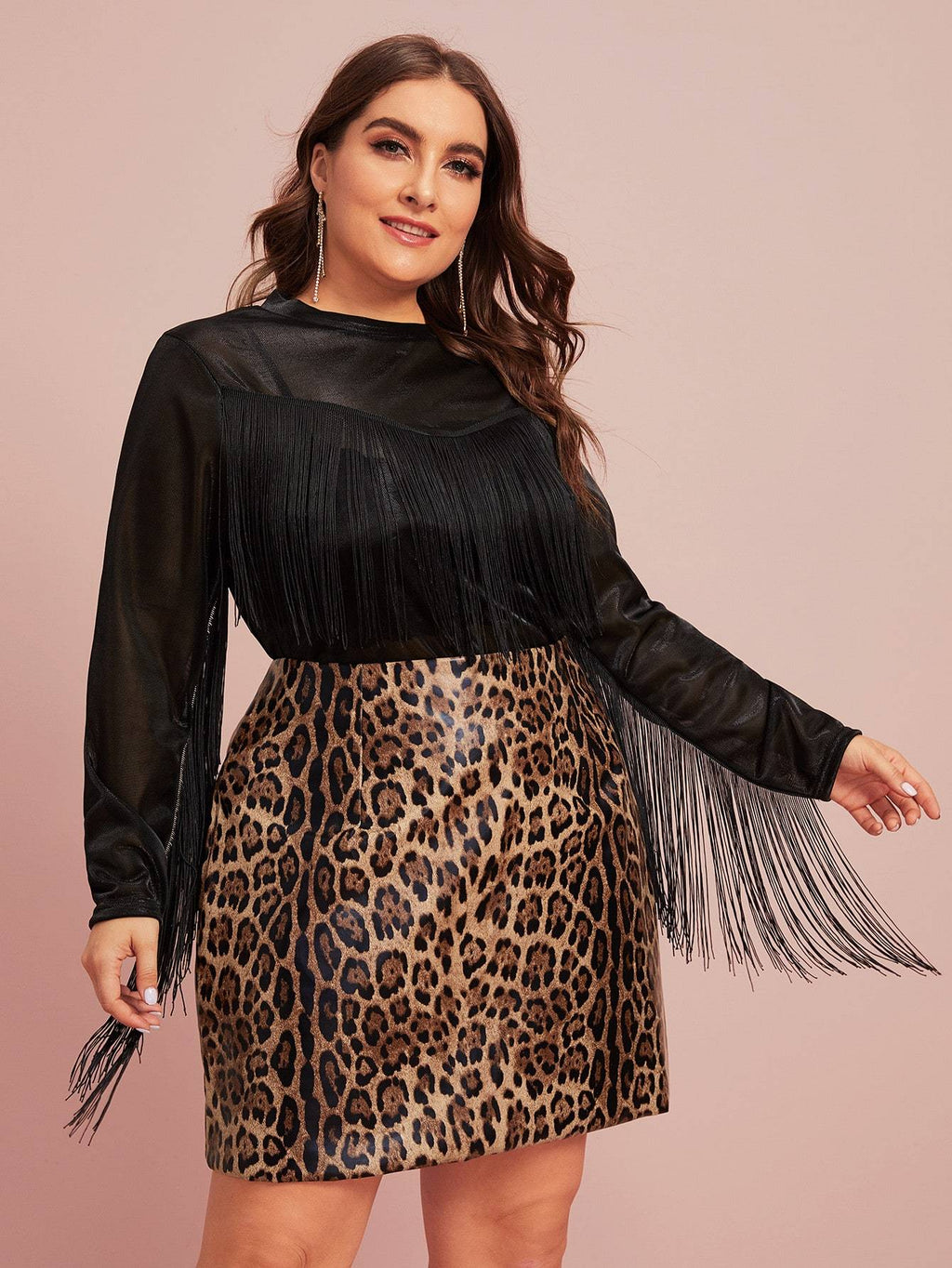 Plus Size Fringe Trim Sheer Top