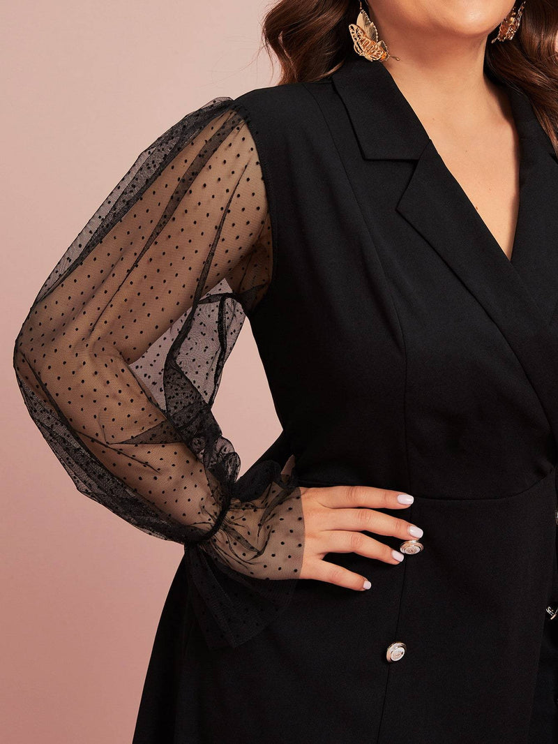 Plus Size See Through Mesh Sleeve A-line Dress