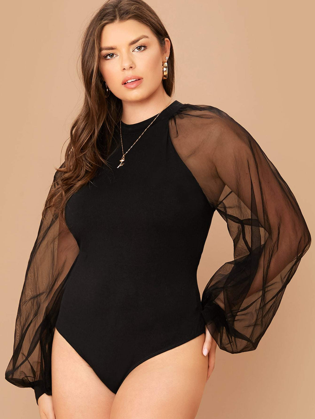 Plus Size See Through Mesh Balloon Sleeve Bodysuit