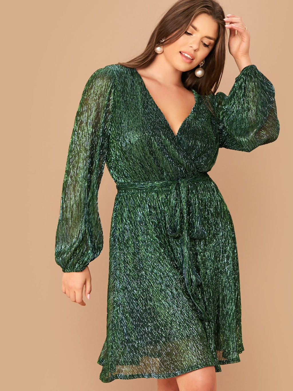 Plus Size Sparkling Surplice Lantern Sleeve Belted Dress