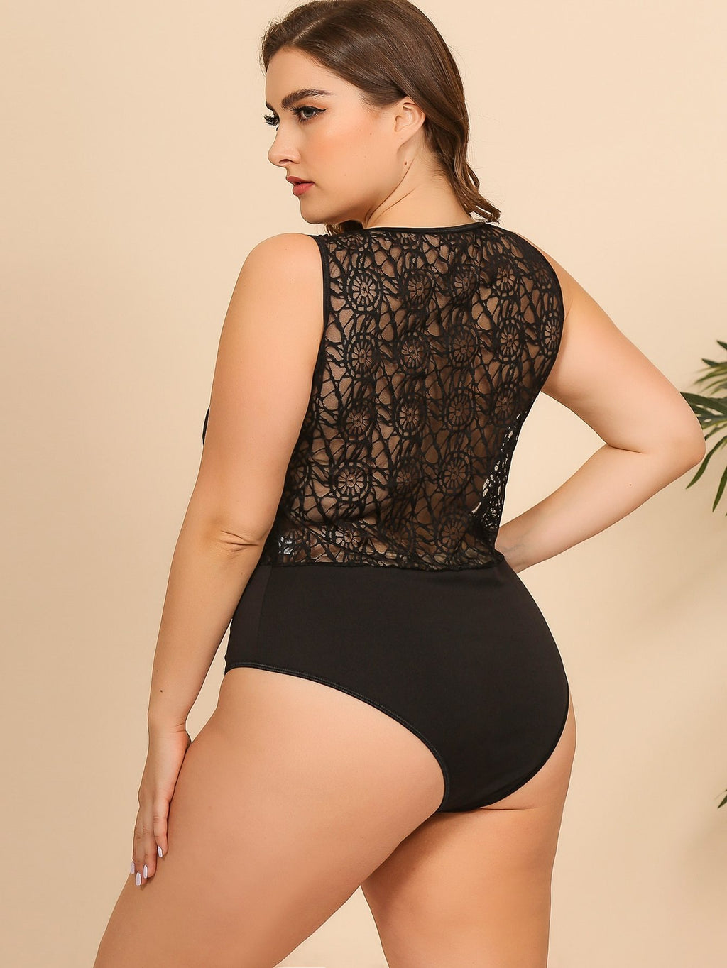 Plus Size See Through Contrast Lace Bodysuit Top