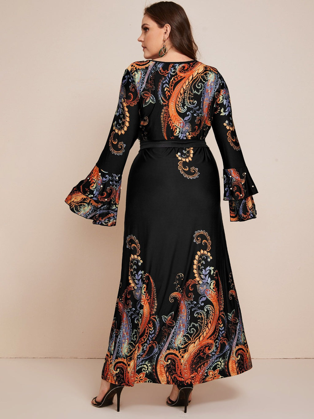 Plus Size Pearl Beaded Paisley Print Belted Dress