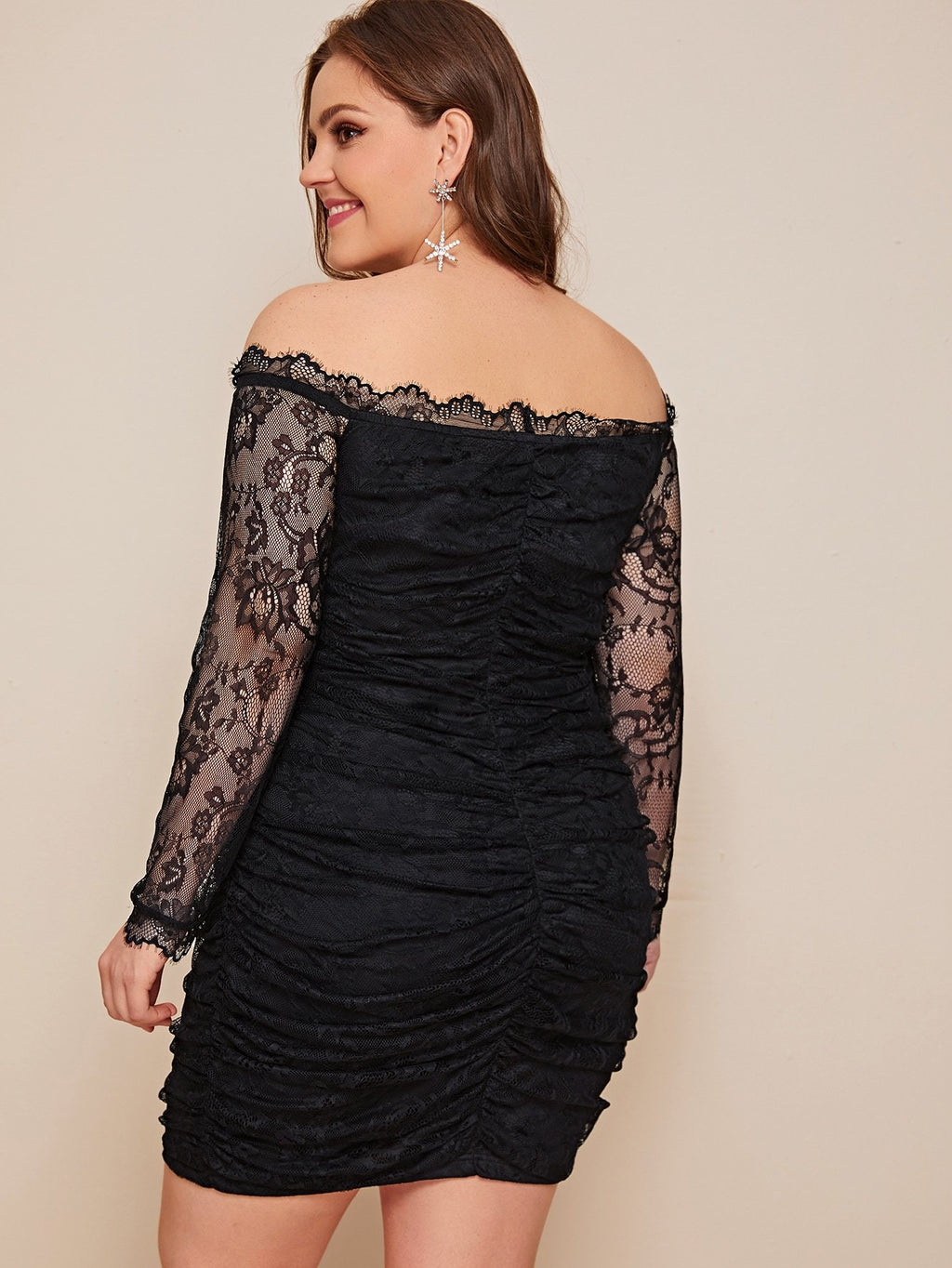 Plus Size Off Shoulder Ruched Lace Overlay Dress