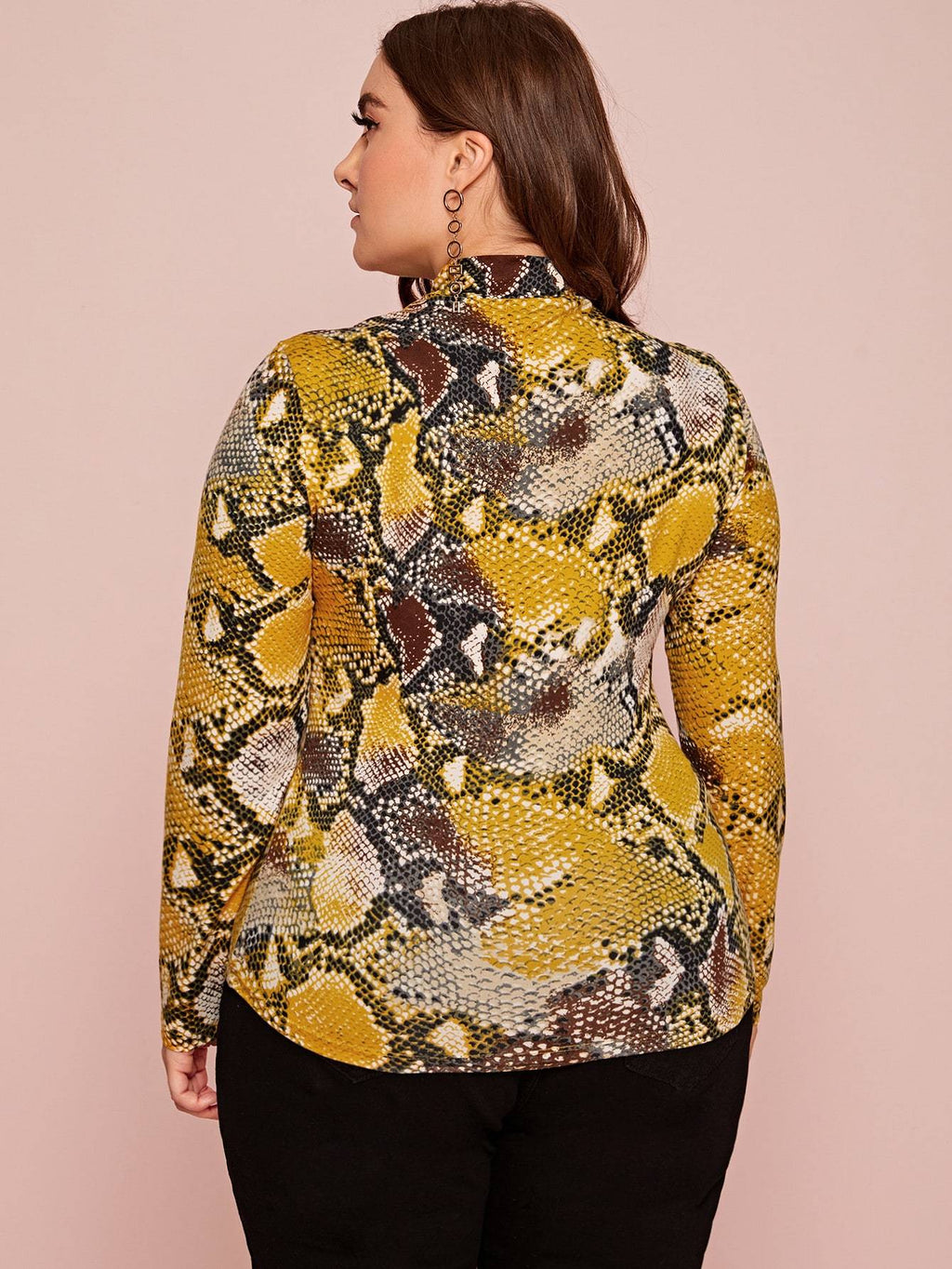 Plus Size Snakeskin Print Open Front Top