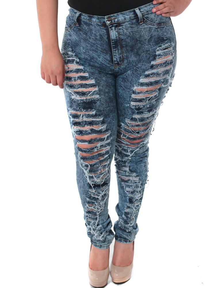 Plus Size Front To Back Slashed Denim Jeans