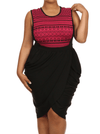 Plus Size Tribal Print V Hem Pink Bubble Skirt Dress